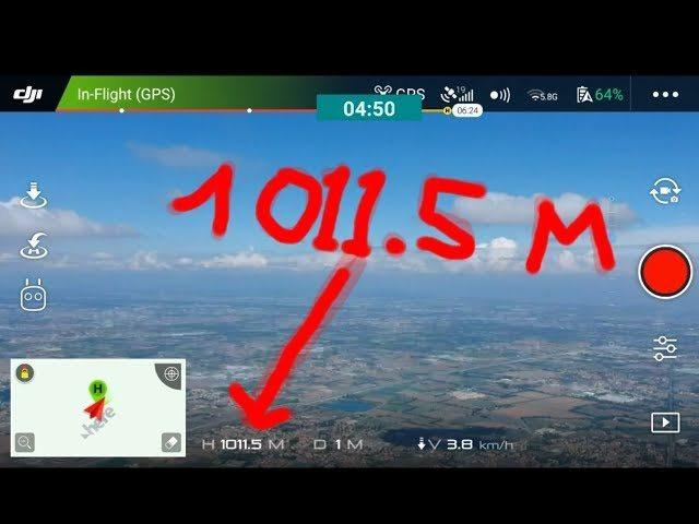 Dji spark altitude record 1011,5 metres hight